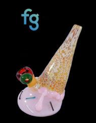 Strawberry Custom Hand Blown Heady Glass Waterpipe ICe Cream Bubbler by Christina Cody