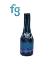 available at Fourward Glass Gallery & Smokeshop in St. Petersburg, FL Custom Heady Glass Sake Bottle Wateripe 10mm Rig with Removable Downstem in Peacock and Iris by Goblin King