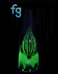 available at Fourward Glass Gallery & Smokeshop in St. Petersburg, FL Custom Hand Blown UV Reactive Heady Glass Sake Bottle Waterpipe by Goblin King