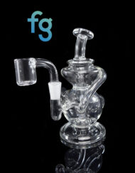 Custom Hand Blown Scientific Mini Jig Dab Rig 10mm Recycler Set with Quartz Banger under $100 by MJ Arsenal available at Fourward Glass Gallery in Downtown St. Petersburg, Florida