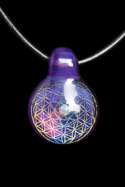 Royal Jelly Custom Hand Blown Heady Glass Dichro Sacred Geometry Pendant Necklace With Encased Opal By Subtl available at Fourward Glass Gallery And Smoke Shop in Downtown St. Petersburg, Florida