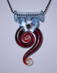 Custom Hand Blown Pomegranate and Raindrop Swirl Pendant with encased opal by Gonzoe Glass