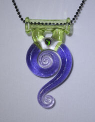 Custom Hand Blown Swirl Pendant with encased opal by Gonzoe Glass