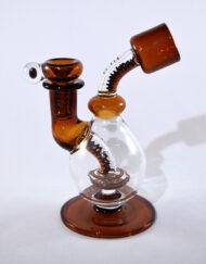 Custom Hand Blown Heady Glass Sienna Brown Zipper 14mm Waterpipe by Natey Love available at Fourward Glass Gallery & Smokeshop in St. Petersburg, FL