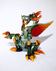 Custom Hand Blown Heady Glass Heisenberg Green & Fire Fade Dragon Rig Waterpipe by Mike Luna available at Fourward Glass Gallery & Smokeshop in St. Petersburg, FL