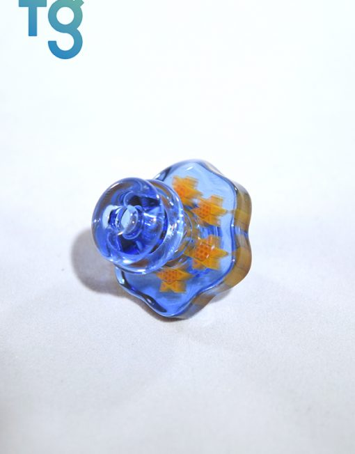 Blue Dream Small Multi Sun Millie Directional Flow Custom Heady Glass Carb Cap by Dreamlab Glass