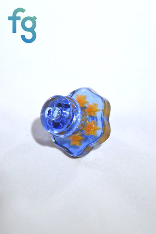 Blue Dream Small Multi Sun Millie Directional Flow Custom Heady Glass Carb Cap by Dreamlab Glass