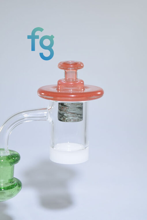 El3ctro B Custom Hand Blown Spinner Cap for Terps Pearls in Quartz Banger on a Heady Glass Dab Rig Waterpipe available at Fourward Glass Gallery & Smoke Shop in St. Petersburg, Tampa Bay, Florida