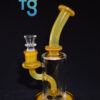 Dale Sommers/Dono Glass - Fatboy Custom Heady Scientific Glass Amber Hourglass Minitube with 4 Slit Showered Perc and 14mm Female Banger Hanger Joint Waterpipe Vapor Rig