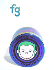 available at Fourward Glass Gallery & Smokeshop in St. Petersburg, FL Green Monkey Grinders - 55mm Aluminum 4-Piece Herb Grinder with titanium finish