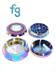 available at Fourward Glass Gallery & Smokeshop in St. Petersburg, FL Green Monkey Grinders - 63mm Aluminum 4-Piece Herb Grinder with titanium finish