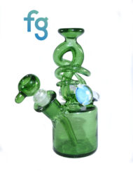 available at Fourward Glass Gallery & Smokeshop in St. Petersburg, FL Custom Hand Blown Heady Glass Waterpipe Full Green Stardust Abstract Rig Minitube with Removable 10mm Downstem by Cambria Glass