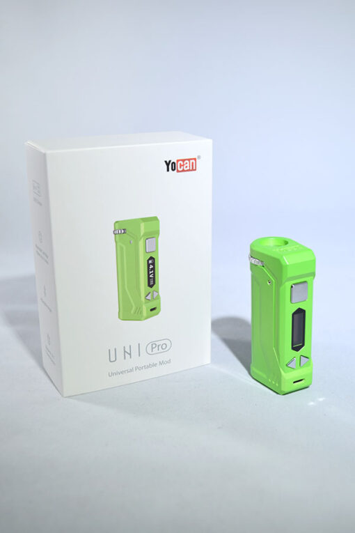 Green Yocan Uni Pro Adjustable Voltage Drop In 510 Thread Vape Battery for Cartridges available at Fourward Glass Gallery & Smoke Shop in Downtown St. Petersburg, Florida