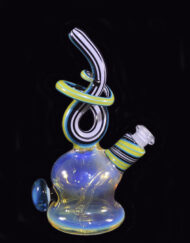 available at Fourward Glass Gallery & Smokeshop in St. Petersburg, FL Custom Heady Glass Abstract Waterpipe Color Changing Fumed Glass and Blue & Green Linework Vapor Rig by Cambria Glass