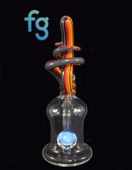 available at Fourward Glass Gallery & Smokeshop in St. Petersburg, FL Custom Heady Glass Abstract Waterpipe and Fire Linework Vapor Rig by Cambria Glass