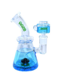 Blue Ooze Glycerin Freezable Custom Hand Blown Heady Glass Waterpipe with Showerhead Perc and Matching 14mm Freezable Slide