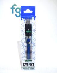 Ooze - Blue Slim Twist 510 Thread Adjustable Voltage Vaporizer Vape Pen Battery with Smart USB Charger