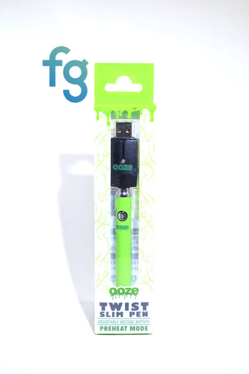 available at Fourward Glass Gallery & Smokeshop in St. Petersburg, FL Ooze - Green Slim Twist 510 Thread Adjustable Voltage Vaporizer Vape Pen Battery with Smart USB Charger