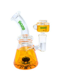 Orange Ooze Glycerin Freezable Custom Hand Blown Heady Glass Waterpipe with Showerhead Perc and Matching 14mm Freezable Slide