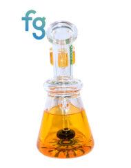 Orange Ooze Glycerin Freezable Custom Hand Blown Heady Glass Waterpipe with Showerhead Perc and Matching 14mm Freezable Slide