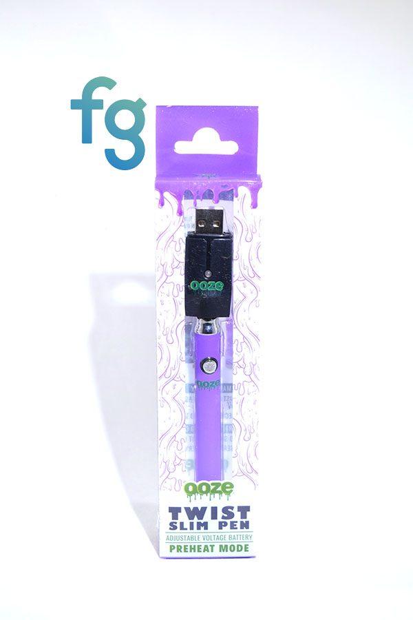 Ooze - Purple Slim Twist 510 Thread Adjustable Voltage Vaporizer Vape Pen Battery with Smart USB Charger