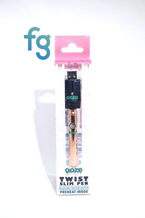 Ooze - Rose Gold Slim Twist 510 Thread Adjustable Voltage Vaporizer Vape Pen Battery with Smart USB Charger