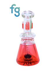 Red Ooze Glycerin Freezable Custom Hand Blown Heady Glass Waterpipe with Showerhead Perc and Matching 14mm Freezable Slide