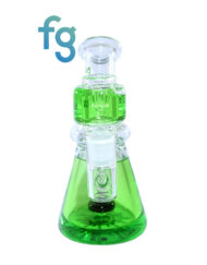 Green Ooze Glycerin Freezable Custom Hand Blown Heady Glass Waterpipe with Showerhead Perc and Matching 14mm Freezable Slide