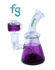 Purple Ooze Glycerin Freezable Custom Hand Blown Heady Glass Waterpipe with Showerhead Perc and Matching 14mm Freezable Slide