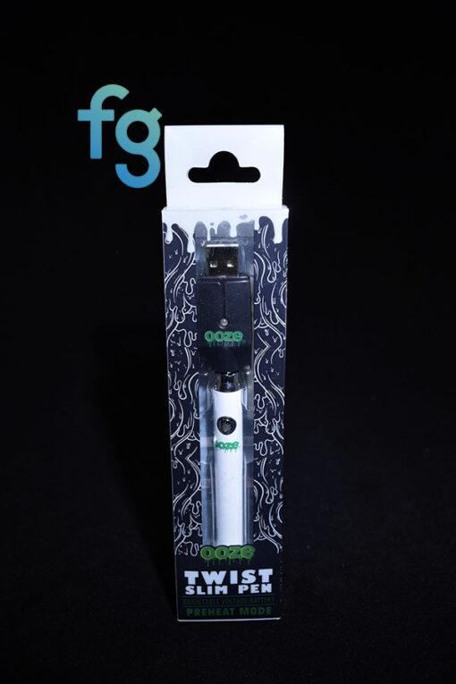 Ooze - White Slim Twist 510 Thread Adjustable Voltage Vaporizer Vape Pen Battery with Smart USB Charger