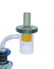 Parallax Custom Hand Blown Heady Glass Flat Top Spinner Carb Cap For Quartz Banger on Dab Rig