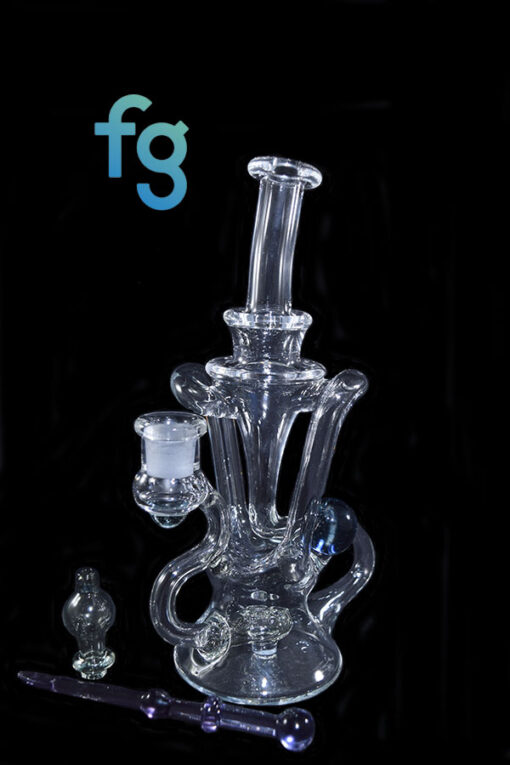 Potion CFL Reactive Color Changing Glass 14mm Custom Hand Blown Heady Glass Dual Uptake Floating Recycler Waterpipe Dab Rig with Matching Dabber and Bubble Cap by Prophecy Glass available at Fourward Glass Gallery & Smoke Shop in Tampa Bay, St. Petersburg, Florida
