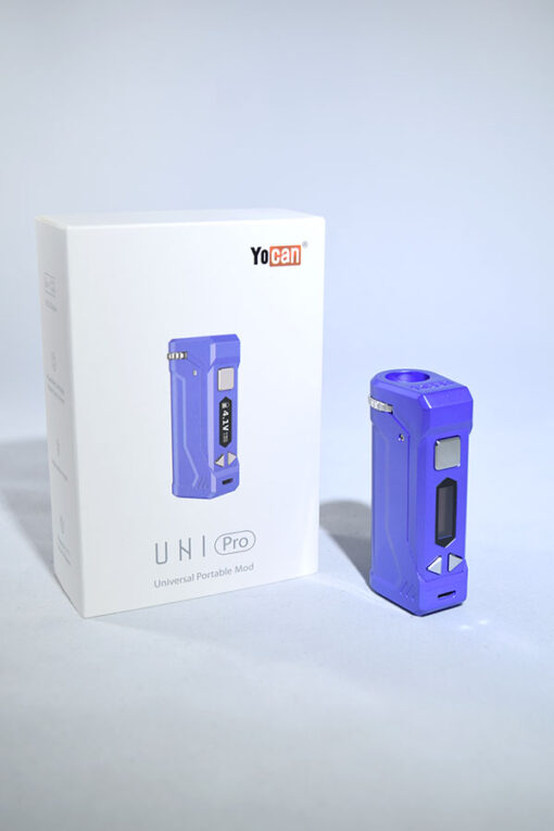Purple Yocan Uni Pro Adjustable Voltage Drop In 510 Thread Vape Battery for Cartridges available at Fourward Glass Gallery & Smoke Shop in Downtown St. Petersburg, Florida