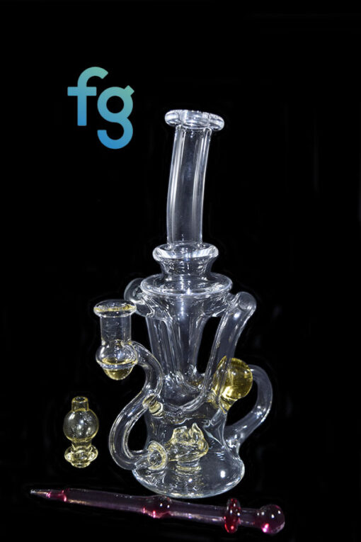 Serum CFL Reactive Color Changing Glass 10mm Custom Hand Blown Heady Glass Dual Uptake Floating Recycler Waterpipe Dab Rig with Matching Dabber and Bubble Cap by Prophecy Glass available at Fourward Glass Gallery & Smoke Shop in Tampa Bay, St. Petersburg, Florida