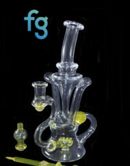Solaria UV Reactive Color Changing Glass 10mm Custom Hand Blown Heady Glass Dual Uptake Floating Recycler Waterpipe Dab Rig with Matching Dabber and Bubble Cap by Prophecy Glass available at Fourward Glass Gallery & Smoke Shop in Tampa Bay, St. Petersburg, Florida