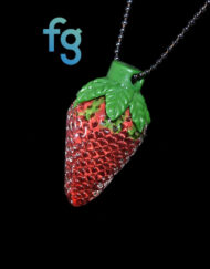 Custom Hand Blown Heady Glass Strawberry Pendant Necklace By Strawberry Glass available at Fourward Glass Gallery & Smoke Shop in Downtown St. Petersburg, Florida