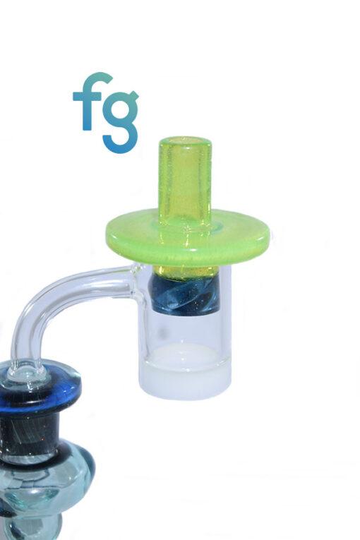 Sunset Slyme Custom Hand Blown Heady Glass Flat Top Spinner Carb Cap For Quartz Banger on Dab Rig