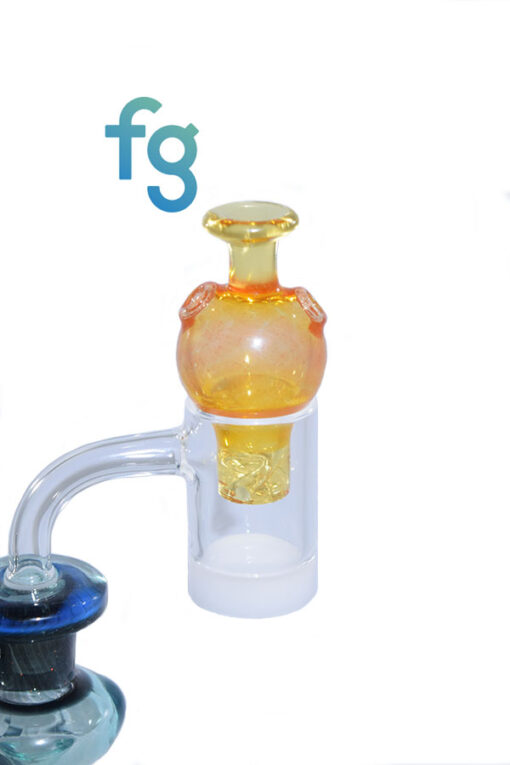 Thomas Transparent Orange Custom Hand Blown Heady Glass Bubble Spinner Carb Cap For Quartz Banger on Dab Rig