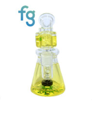 Yellow Ooze Glycerin Freezable Custom Hand Blown Heady Glass Waterpipe with Showerhead Perc and Matching 14mm Freezable Slide available at Fourward Glass Gallery & Smoke Shop in Downtown St. Petersburg, Florida